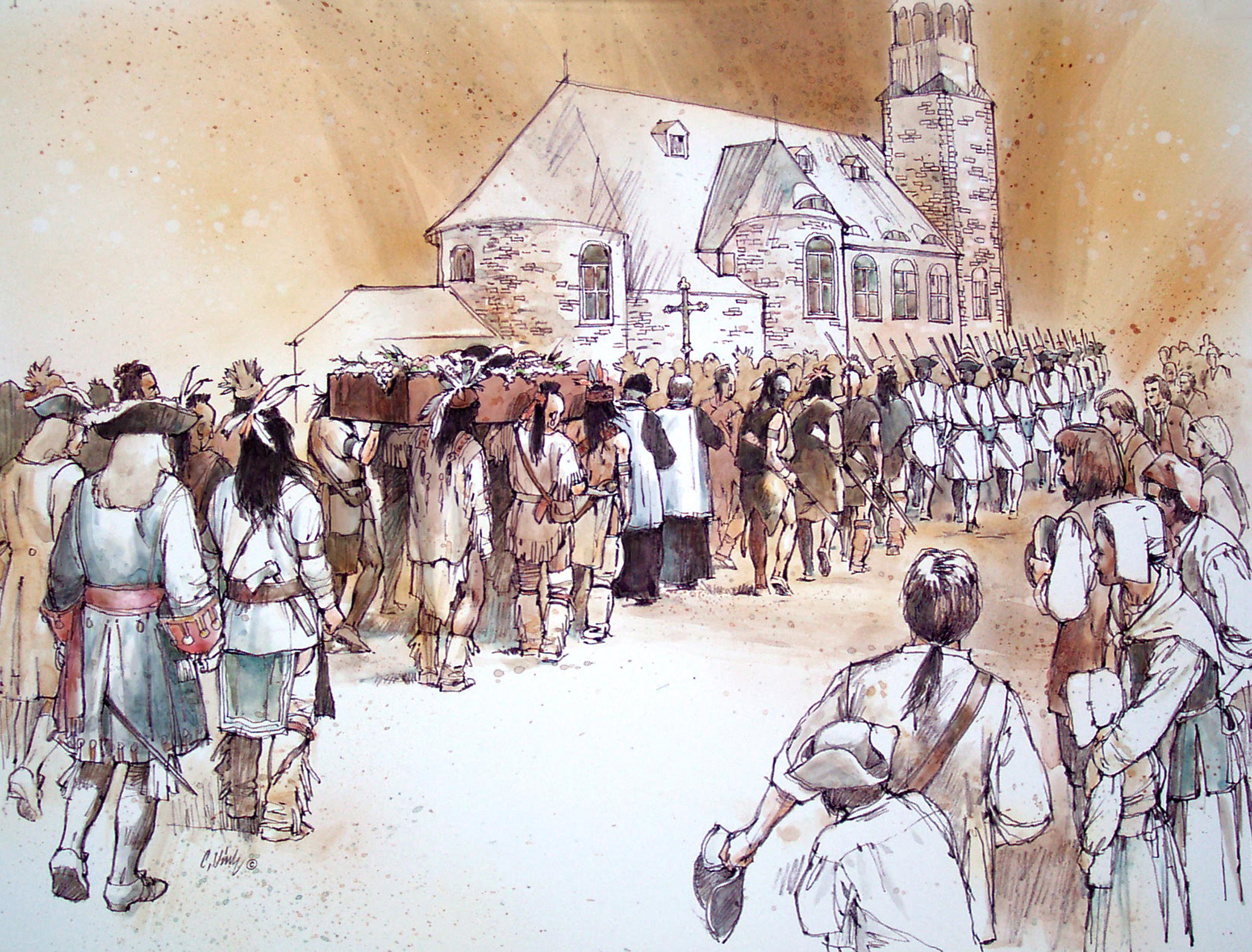 Illustration montrant une procession pour les funérailles du chef Huron Kondiaronk qui se rend à l'église Notre-Dame.