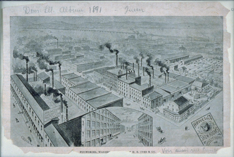 Illustration montrant l'ampleur des installations de la compagnie Ives & Allen