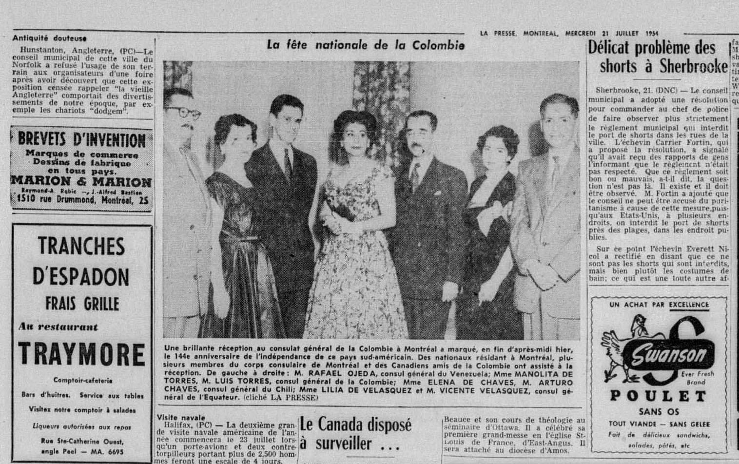 Réception au consulat général de Colombie à Montréal, en 1954, pour souligner le 144e anniversaire de l'indépendance du pays