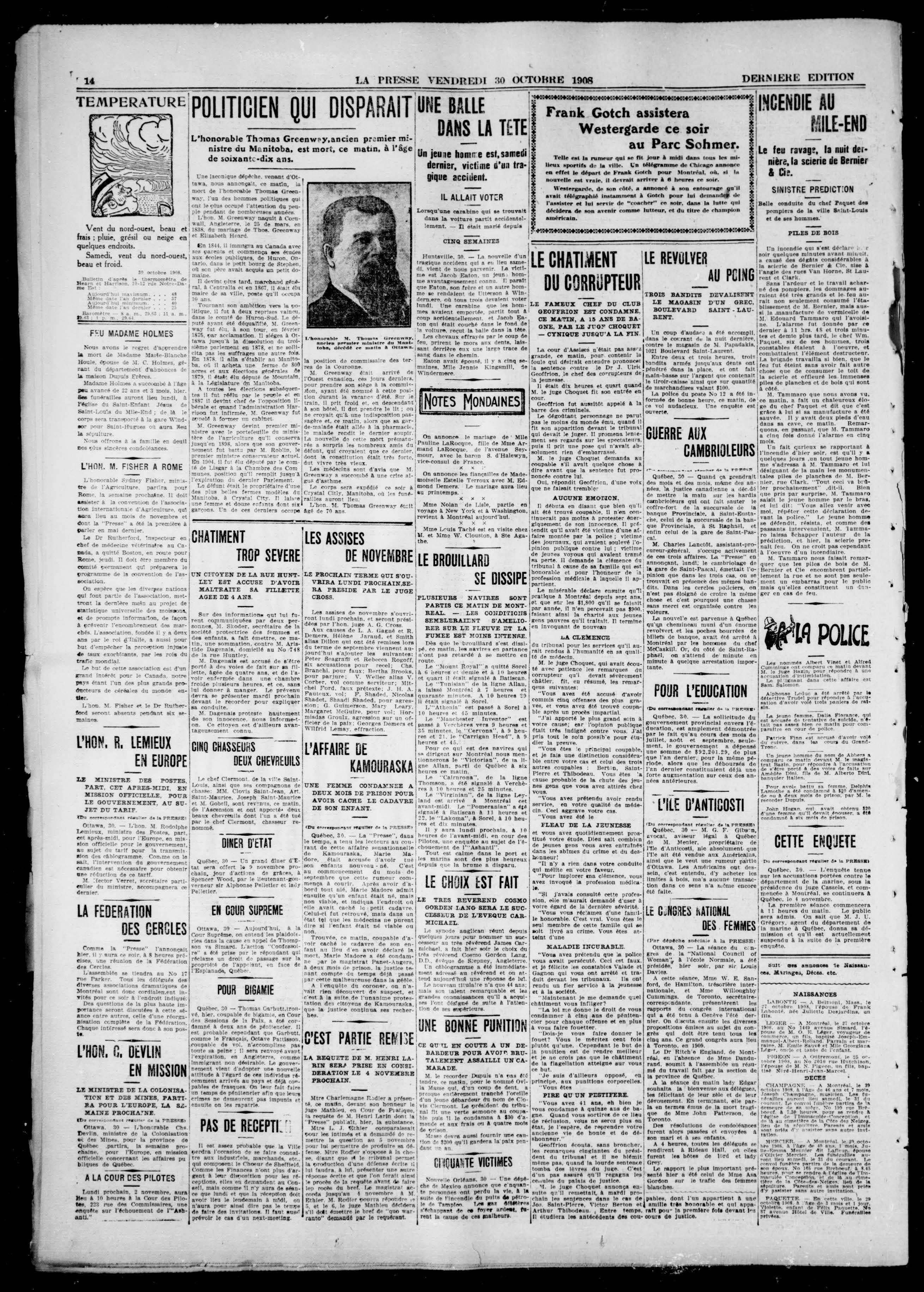 Page 14 de La Presse du 30 octobre 1908 comprenant un article sur la condamnation du Dr Geoffrion