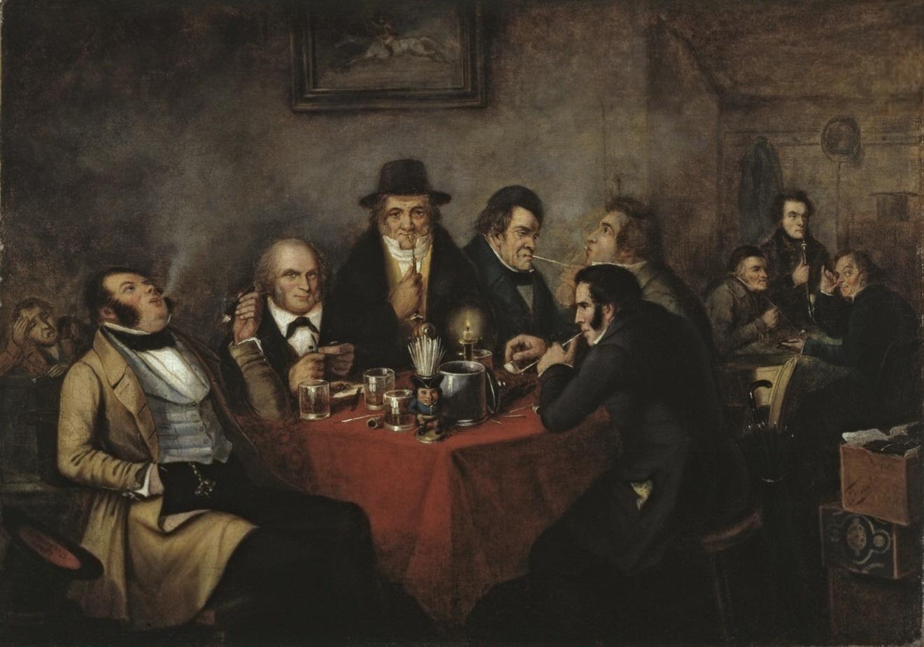 Peinture de divers membres du Shakespeare Club de 1847. John Young apparaît sur la gauche du tableau, soufflant de la fumée dans l'air.