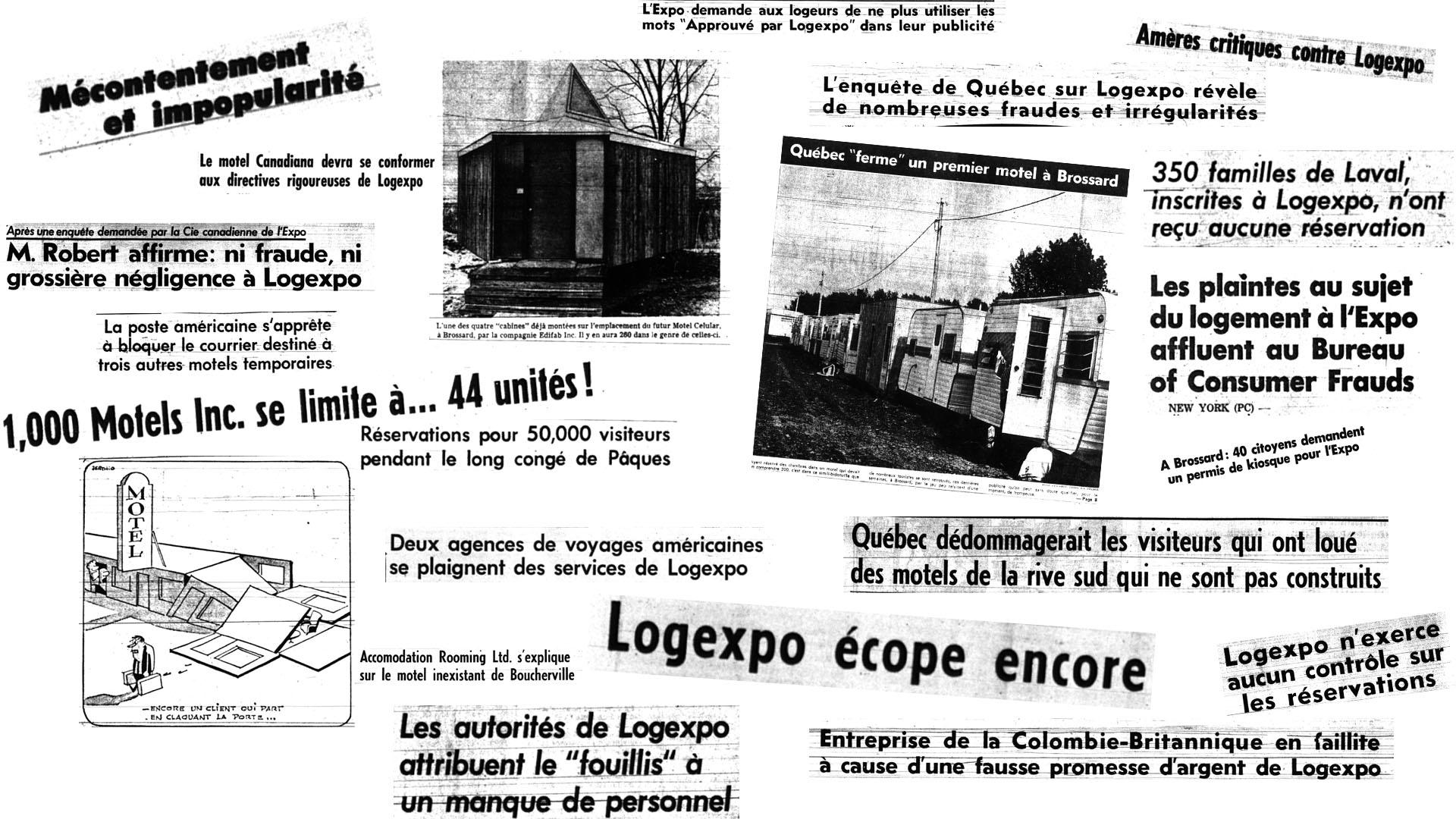 Collage de grands titres de journaux concernant Logexpo