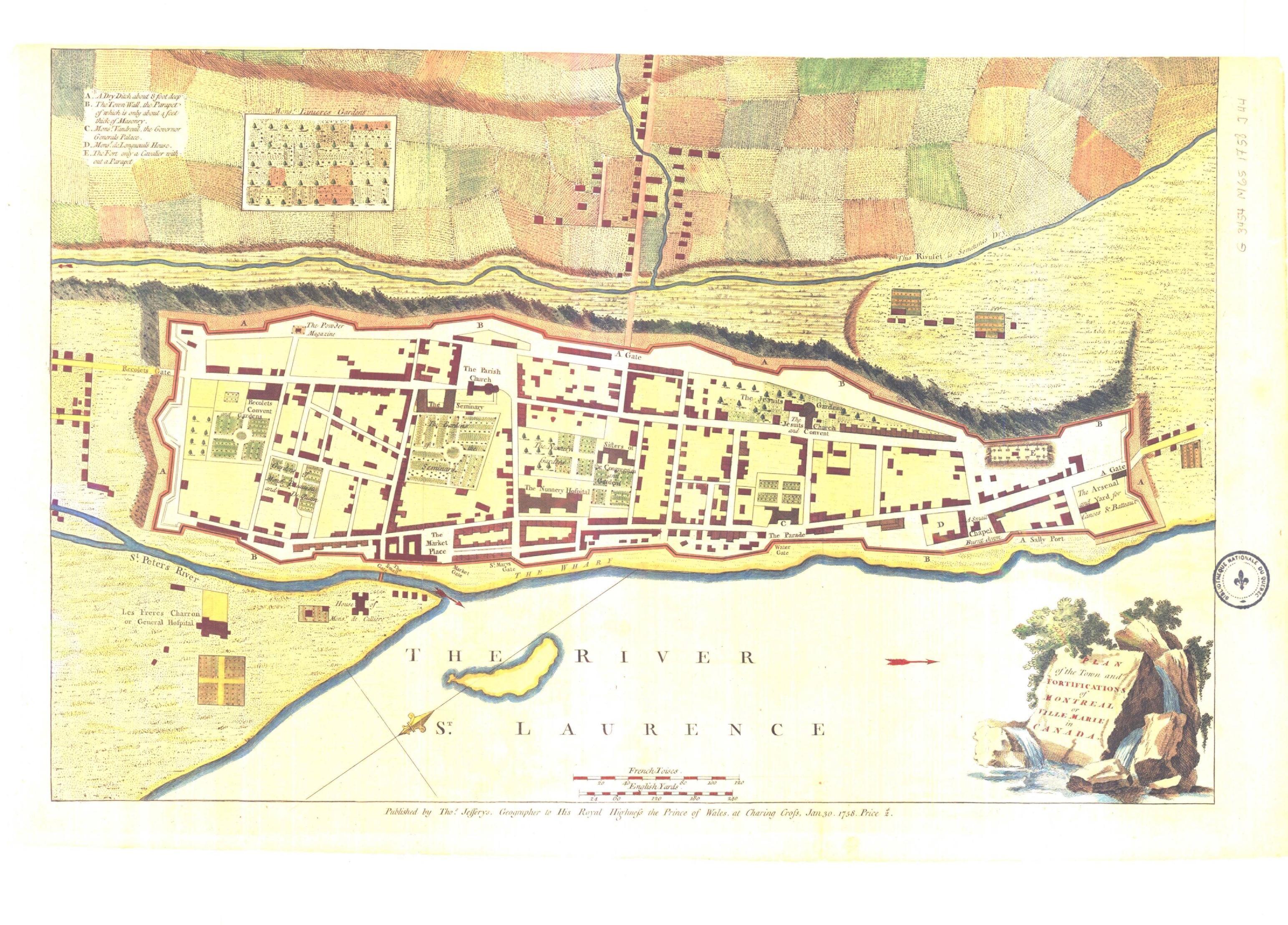 Plan de la ville et des fortifications de Montréal en 1760.