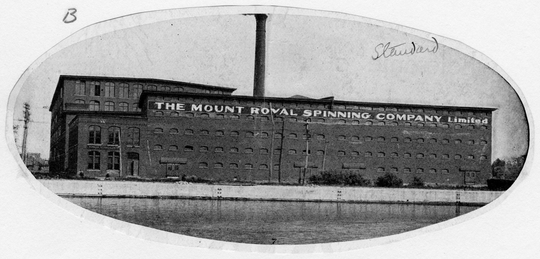 Photo médaillon de la Mount Royal Spinning Company sise sur le bord du canal de Lachine.