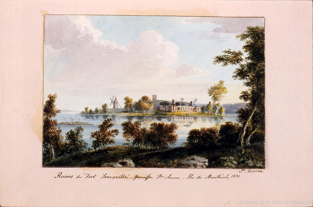Aquarelle montrant les ruines du fort de Senneville en 1831