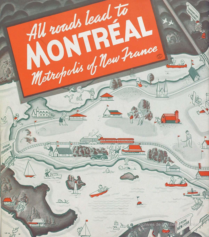 Première de couverture d'un guide de voyage de Montréal de 1939.
