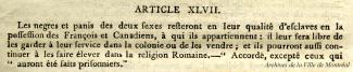 Article 47 de la Capitulation de Montréal, 1760