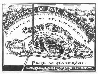 Esquisse des aménagements planifiés pour l'île Sainte-Hélène à partir du plan de Frederick C. Todd.
