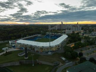 Vue aérienne du stade Saputo et du Village olympique