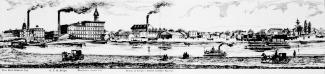 Gravure d'une vue de Saint-Henri depuis la rive sud du canal de Lachine.