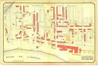Plan colorié à la main du quartier Hochelaga en 1890.