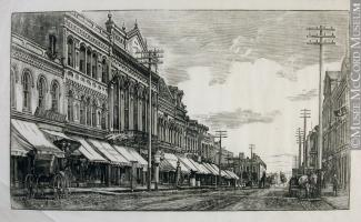 Gravure d'une scène de rue à Montréal à la fin du XIXe siècle.