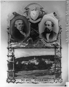 Photographie composite montrant James McGill et M. J. W. Dawson, de même que l'Université McGill