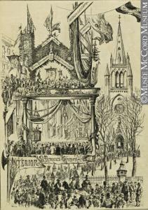 Cette image met en scène l'arrivée du défilé à l'église Saint-Patrick de Montréal. Au bas de l'image, il est possible de lire « Interior Saint-Patrick Church ».