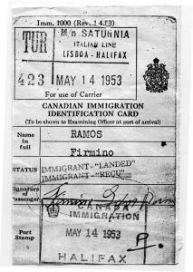 Carte d'identité d'Immigration Canada en 1953.