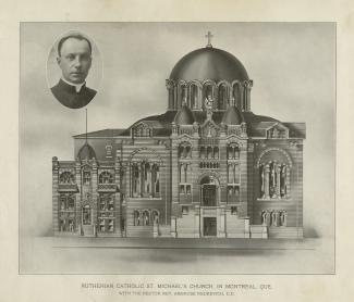 Projet architectural pour la construction de la première église paroissiale catholique ukrainienne à Montréal. En haut, à gauche, une photo du révérend Ambroise Redkevych, l'un des fondateurs de la paroisse.