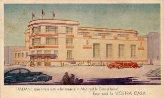 Carte postale annonçant l'ouverture prochaine de la Casa d'Italia