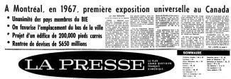 """La une du journal La Presse qui annonce \""""À Montréal, en 1967, première exposition universelle au Canada\"""""""