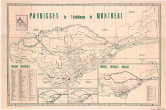 Carte des paroisses de l'Archidiocèse de Montréal.