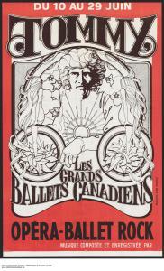 Affiche du ballet-opéra rock Tommy! présenté en 1971 sous la direction artistique de Ludmilla Chiriaeff.