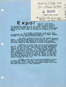Première page du Récit de l'Expo 1967, écrit à la dactylo par Yolande Méthot