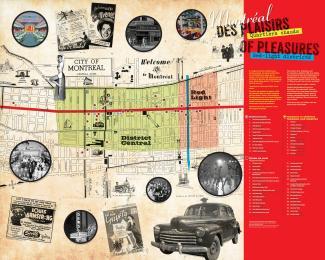 Panneau d'exposition montrant une carte du centre-ville avec un collage de photographies de lieux de divertissement et autres.