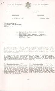 Lettre de la Ville de Montréal pour l'expropriation d'une maison rue Dorchester en 1968.