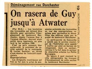 Coupure de journal du Montréal-Matin du 23 mai 1968 sur la démolition de maisons rue Dorchester.