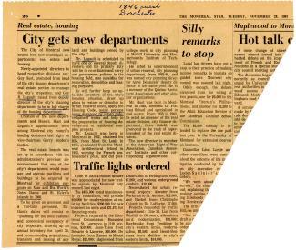 de journal, The Montreal Star, 28 novembre 1967 sur la création d'un service municipal d'habitation.