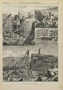 Dessin représentant des ouvriers et des chevaux travaillant à l'extraction de pierres dans une carrière.