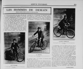 Article avec trois photos sur de jeunes messagers de télégraphe à vélo