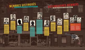 Panneau d'exposition sur la pègre montréalaise présentant dix hommes et trois femmes.