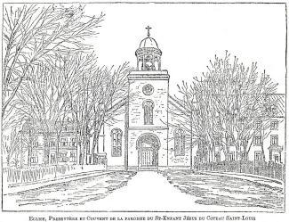 Dessin de la façade de la première église, le presbytère et le couvent