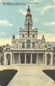 Carte postale colorisée montrant la façade de l'église Saint-Enfant-Jésus du Mile-End