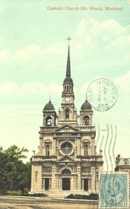 Carte postale montrant l'église catholique de Saint-Henri