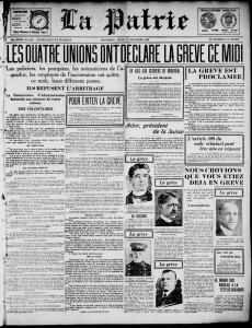 """Une du journal La Patrie du 12 décembre 1918 avec en titre \""""Les quatre unions ont déclaré la grève ce midi\"""""""