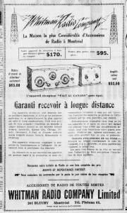 Publicité d'un magasin de radio dans un journal.