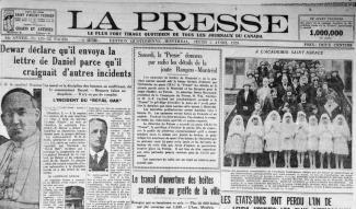 La une du journal La Presse du 5 avril 1928 annonçant que la joute Rangers-Montréal sera radiodiffusée.
