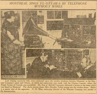 Coupure de journal avec le titre « Montreal sings to Ottawa by telephone without wires » avec deux photos et une légende.
