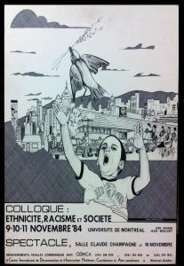 Affiche du colloque Ethnicité, racisme et société tenu en novembre 1984.