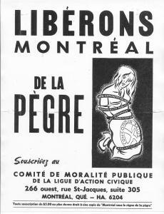 Invitation à souscrire au Comité de moralité publique de la ligue d'action civique. À droite, une femme représentant Montréal est enchaînée par des vices (jeu commercialisé, prostitution, etc.).