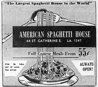 Publicité de l'American Spaghetti House montrant une illustration d'un plat de spaghetti.