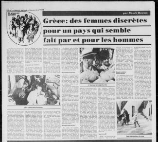 """Article du journal Le Devoir datant de 1968 intitulé \""""Grèce : des femmes discrètes pour un pays qui semble fait par et pour les hommes\""""."""