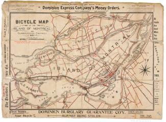 Carte des pistes cyclables de Montréal en 1897