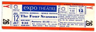 Billet de 3,50 $ pour une entrée au concert pop-rock du groupe américain Four Seasons