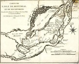 Cette carte présente l'île de Montréal et ses environs dont le lac des Deux Montagnes, le lac Saint-Louis, l'île Jésus (devenu Laval), l'île Bizard et l'île Sainte-Thérèse. Les forts et paroisses de Montréal sont notés.