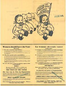 Affiche bilingue montrant dans le haut cinq bébés dont un tient une bannière disant « Laissez voter maman! » et dans la partie du bas les raisons pour lesquelles la femme devrait voter.