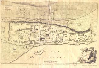 Carte anglaise montrant les fortifications et l'organisation des rues à la fin du Régime français.