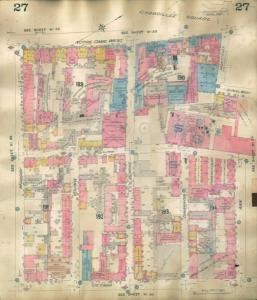 Plan d'incendie de 1909 montrant le quartier de Diamond Court.
