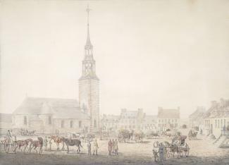 Aquarelle représentant la place d'Armes en 1790 avec l'église Notre-Dame en arrière-plan.